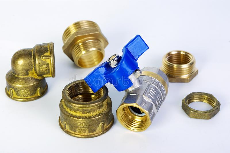 Water tap and fittings for water supply. Plumbing fixtures and piping parts. Sanitary and technical works. Copy spaces stock images