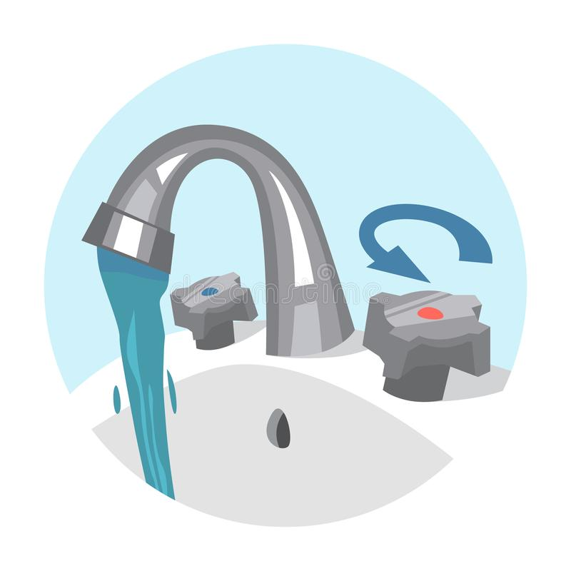 Water tap. Flow of the fresh liquid. From the faucet. Stream of the pure water. Isolated vector illustration in cartoon style stock illustration