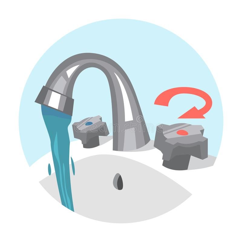 Water tap. Flow of the fresh liquid. From the faucet. Stream of the pure water. Isolated vector illustration in cartoon style vector illustration
