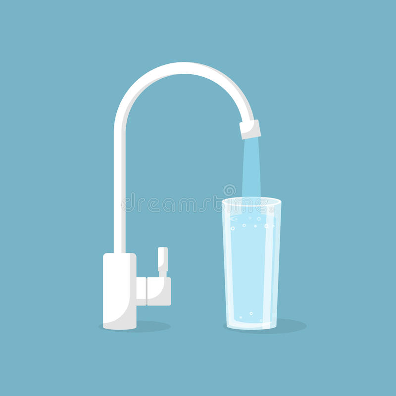 Water tap with glass. Kitchen faucet. Glass of clean water. Vector illustration flat design. Isolated on background. Filling cup beverage. Pouring fresh drink vector illustration