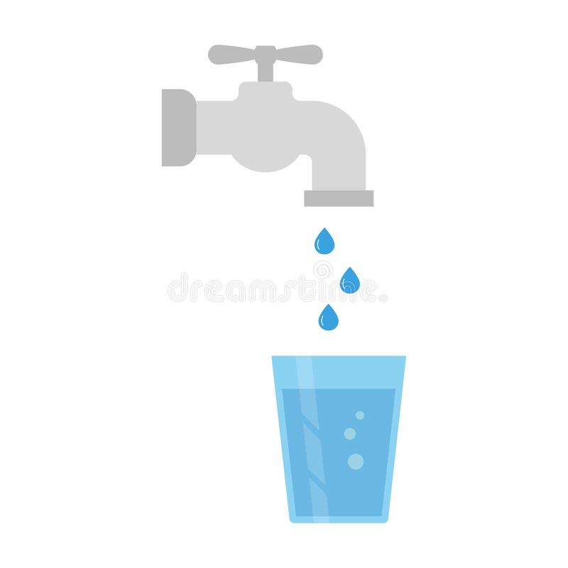 Water tap and glass of water royalty free illustration