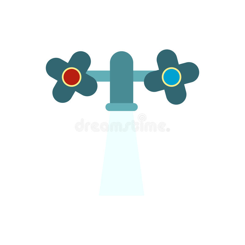 Water Tap With Knobs With Running Water Stock Vector - Illustration ...