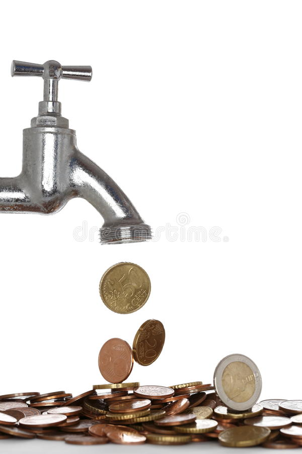 Water tap with money stock photography