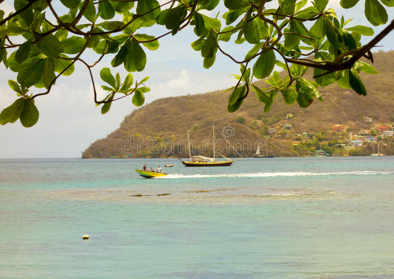 A water taxi in the caribbean. A popular mode of transport to the beach in the windward islands royalty free stock image