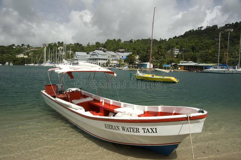Water Taxi Castries St Lucia. Water Taxi Castries capital of St Lucia.Saint Lucia is an Eastern Caribbean island nation with a pair of dramatically tapered royalty free stock images
