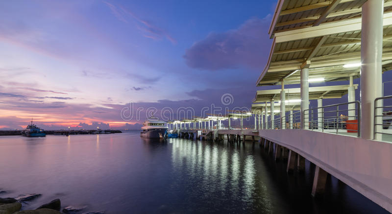 Water terminal in Manila. Bay with a boat docking royalty free stock photos