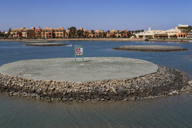 Water testing ground for motor boats. El Gouna. Egypt stock photo