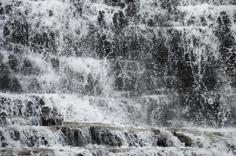 Water texture of forest waterfall cascades royalty free stock image