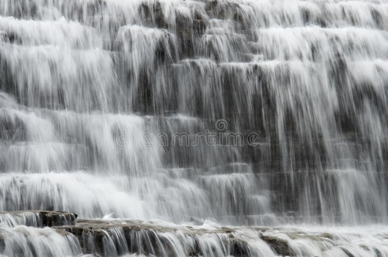 Water texture of forest waterfall cascades stock photography