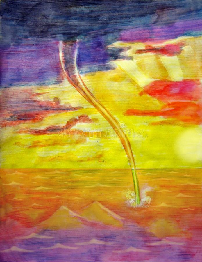 Tornado at sea at sunset watercolor pencil stock image