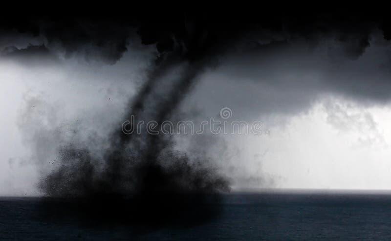 Water tornado. Tropical storm water tornado in the Caribbean stock photo