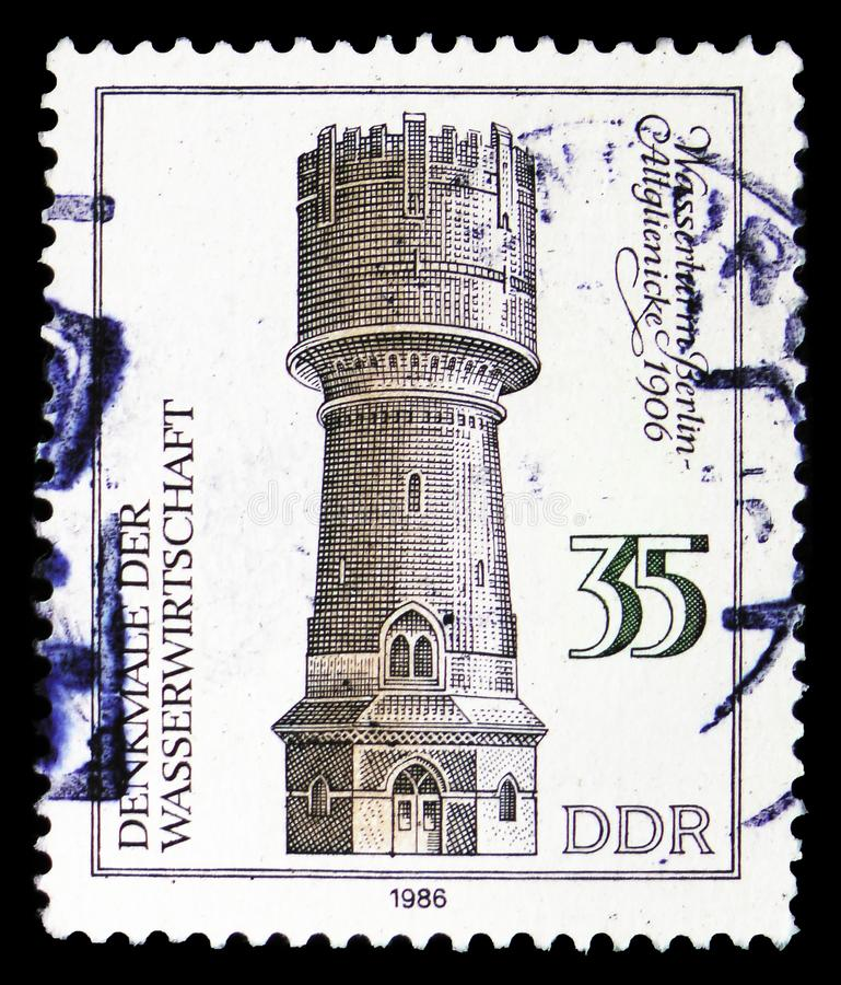 Water Tower, Berlin 1906, Monuments Of The Water serie, circa 1986. MOSCOW, RUSSIA - MARCH 30, 2019: A stamp printed in Germany, Demoscratic Republic shows Water royalty free stock photos