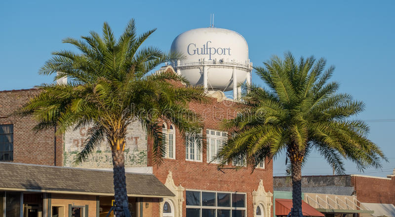 Water tower and buildings in downtown Gulfport Mississippi royalty free stock photos