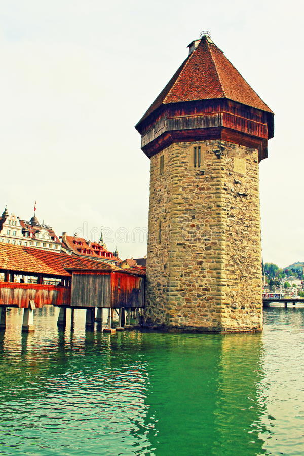 Water Tower Chapel Bridge Lucerne Switzerland royalty free stock images