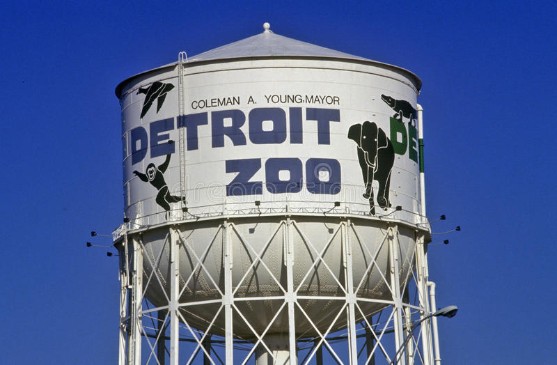 Water tower at Detroit Zoo in Detroit, MI stock image