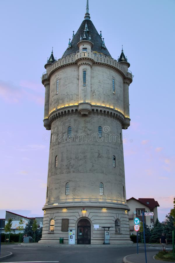 Water Tower from Drobeta Turnu Severin - one of the city`s landmarks. DROBETA TURNU SEVERIN, ROMANIA - JULY 17, 2017: The Water Castle is a historic monument in