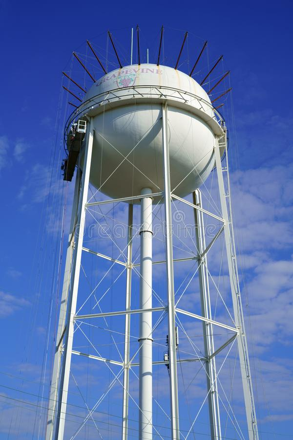 Water tower in Grapevine, Texas, USA. Water tower with local logo in Grapevine, Texas, USA royalty free stock photography