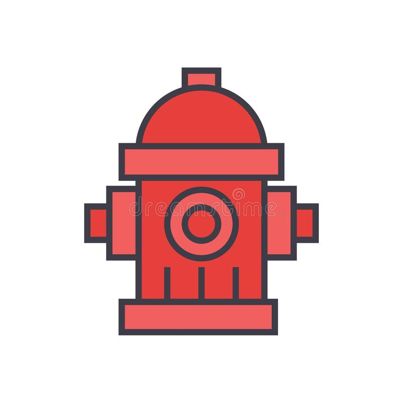 Water tower, hydrant flat line illustration, concept vector icon stock illustration