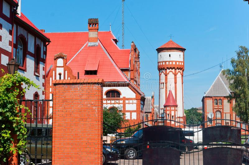 Water tower infantry barracks, the building of the Baltic fleet of the Russian Federation. August 9, 2018, Kaliningrad region, Baltiysk, Russia,Water tower stock image