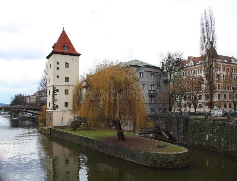Water tower near Jiraskuv bridge in Prague stock photo