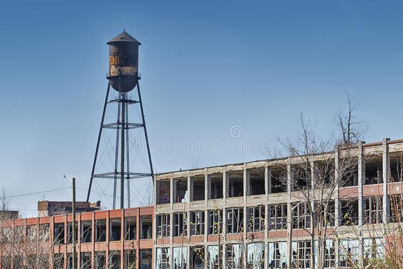 Water Tower Of The Packard Plant royalty free stock photo