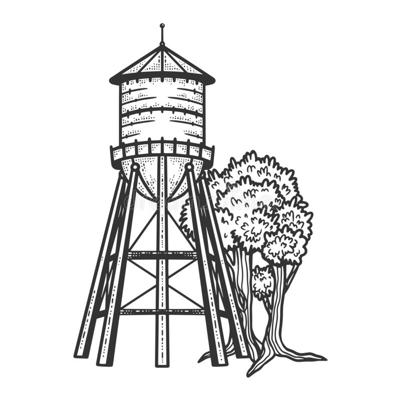 Free Water Tower Sketch Vector Illustration Royalty Free Stock Photo - 188267105