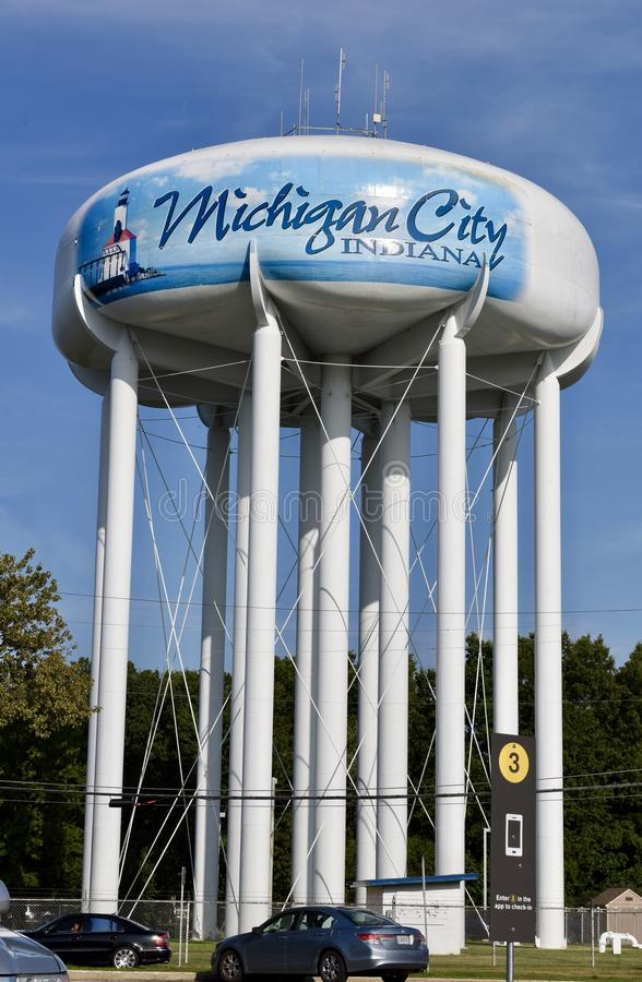 Water Tower. This is a Summer picture of the iconic water tower located in a Michigan City, Indiana in LaPorte County. This picture was taken on a September 3 royalty free stock photo