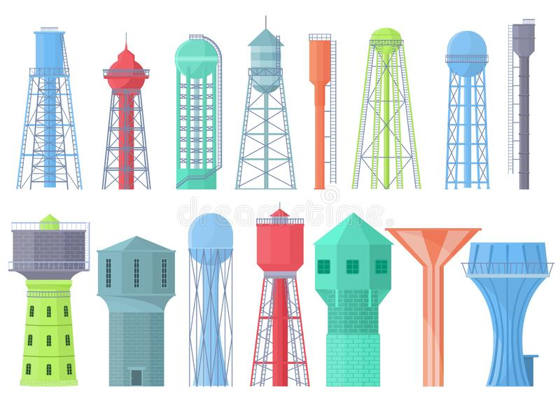 Water tower vector tank storage watery resource reservoir and industrial high metal container water-tower illustration royalty free illustration