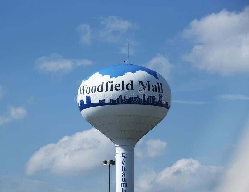 Water Tower at Woodfield Mall, Schaumburg, IL. Just 40 minutes West of Chicago, Woodfield Mall is one of the largest shopping destinations in the United States stock photo