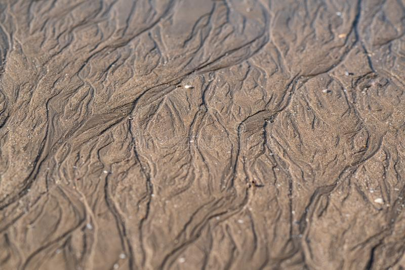 Water trails on sand royalty free stock image