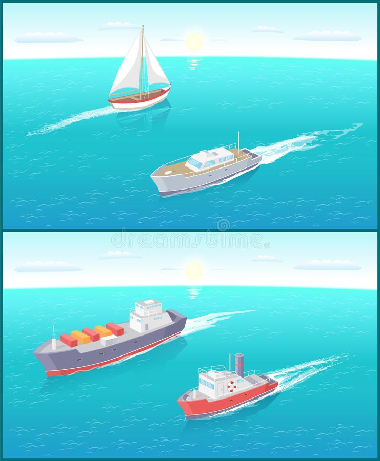 Water Transport Ferry and Sailing Boat Vector stock illustration