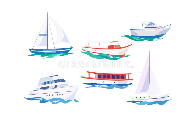Water transport set, yacht, motorboat, steamship, fishing boat, cruise ship vector Illustration on a white background stock illustration
