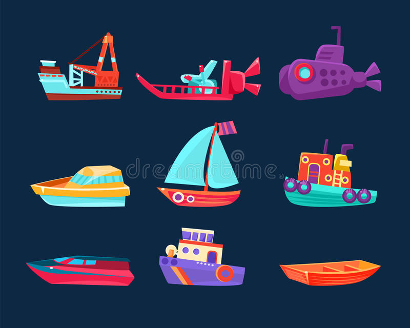 Water Transport Toy Icon Set stock illustration
