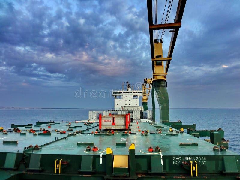 Water Transportation, Oil Rig, Ship, Crane Vessel Floating stock image