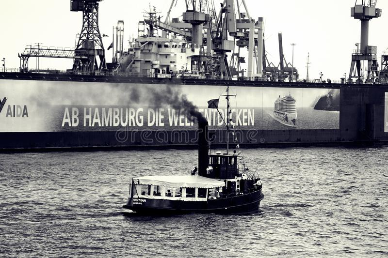Water Transportation, Ship, Black And White, Tugboat royalty free stock photo