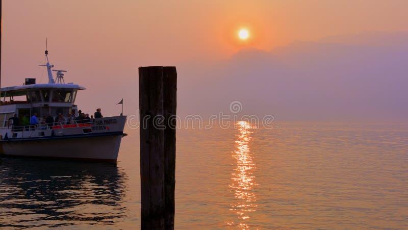 Water Transportation, Sunset, Sunrise, Sea stock photography