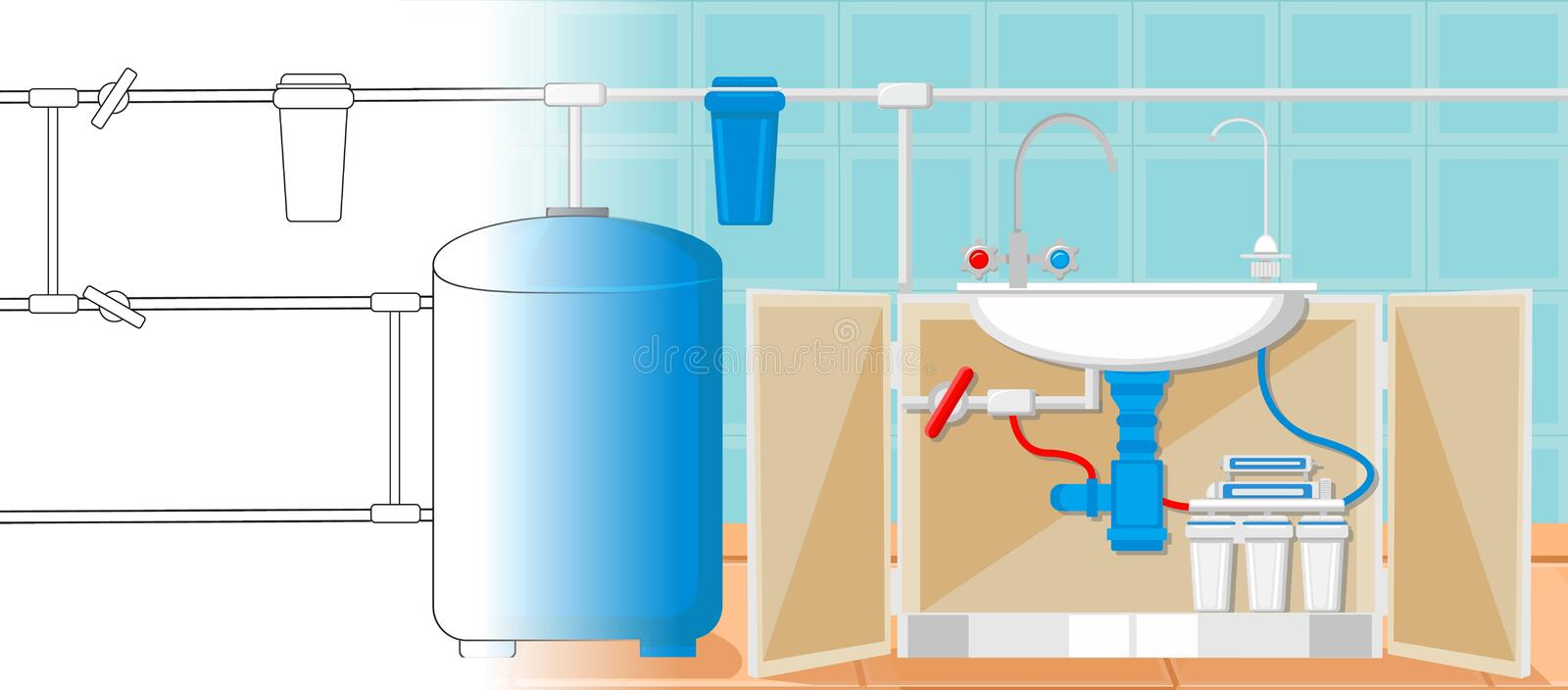 Water Treatment in Kitchen Concept. Vector. vector illustration