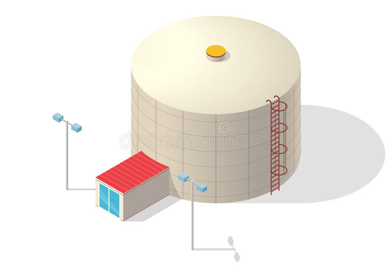 Water treatment isometric building, big bacterium purifier on white. vector illustration