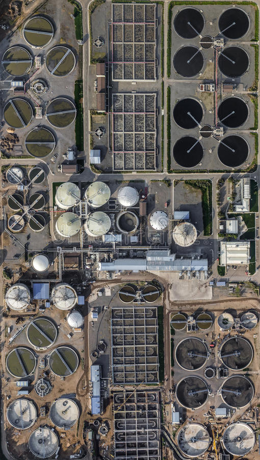 Water treatment plant factory from above. Aerial view of a factory water treatment plant royalty free stock images