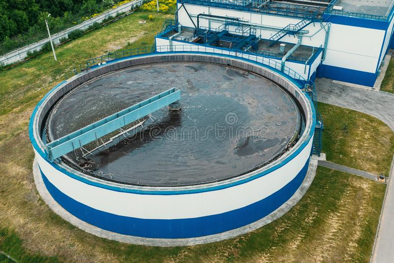 Water Treatment Plant with Round Cylinder of Clarifier Sedimentation Tank, Aerial Top View royalty free stock images