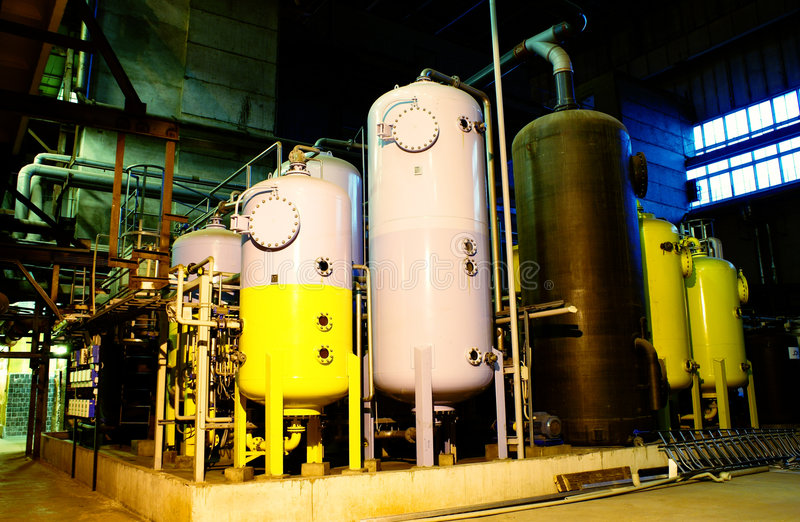 Water treatment tanks on power plant stock photography