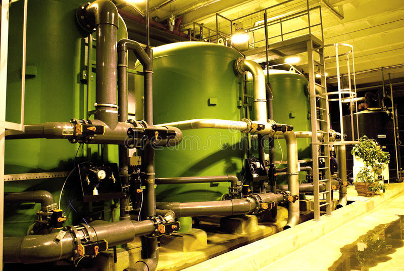 Water treatment tanks at power plant stock image