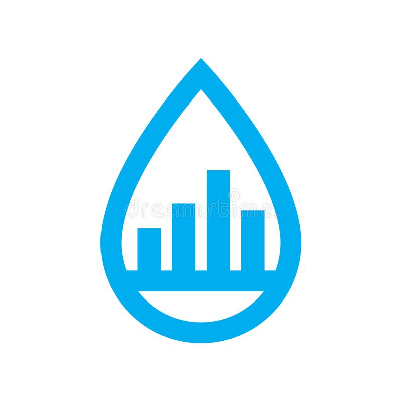 Water use consumption icon. Blue graph in water drop symbol royalty free illustration