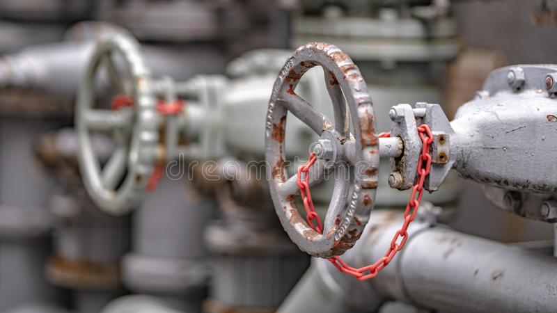 Water Valve And Nozzle Joint. Distribution Line And Pipeline System royalty free stock photography