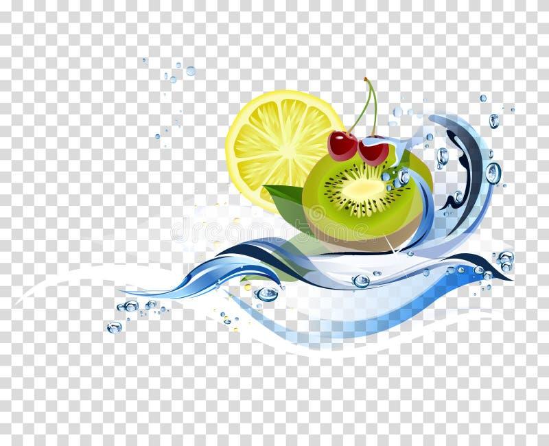 Water verse vruchten royalty-vrije illustratie