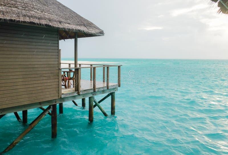 Water villa with blue ocean sea at Maldives stock photos
