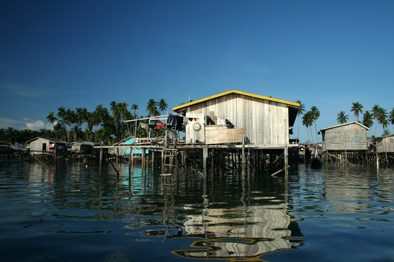 Water village mabul island borneo royalty free stock photography