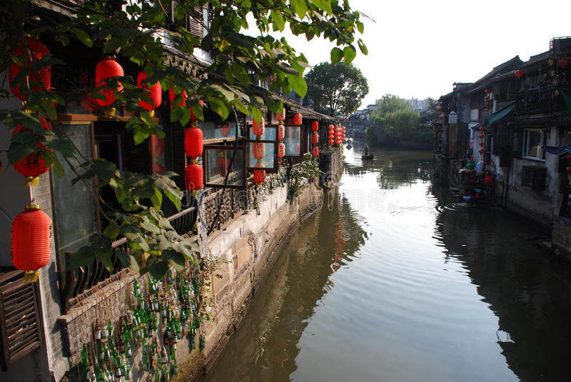 Water Village-Xitang ancient town. Xitang, an old town in Zhejiang province of China is renowned for bridges, Lanes and covered corridors. It has numerous Ming stock photography