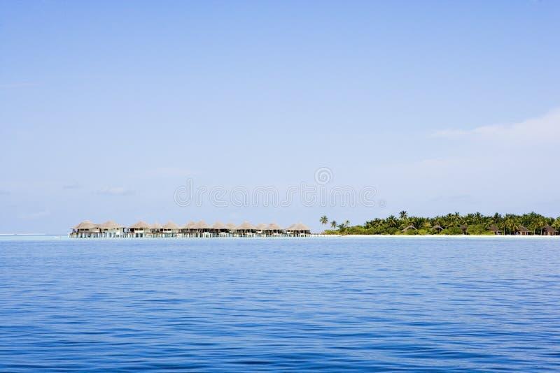 Water villas from ocean side stock photos