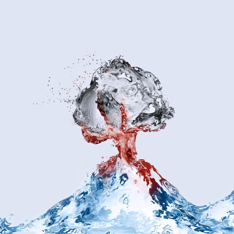 Water Volcano Erupting. A volcano made of water erupting with a dark gas cloud above and red magma flowing stock photo